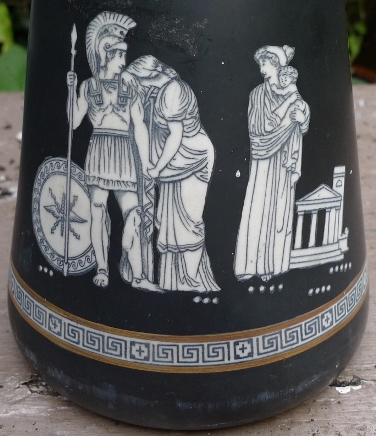 Victorian black hyacinth vase with Trojan War scenes