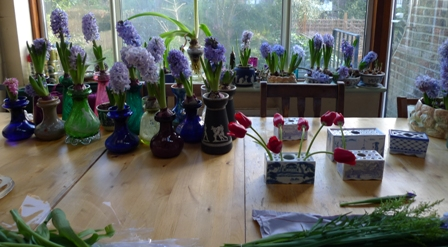 hyacinth vases and flower bricks