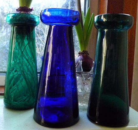 mould blown hyacinth vases